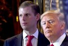 Eric Trump (left) insists his father Donald (right) is not intiminated by Vladimir Putin. Photo/Getty Images