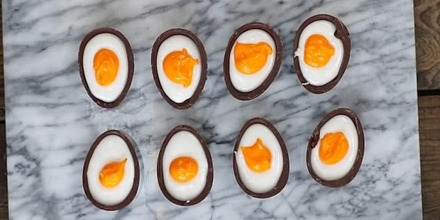 Loading Making your own creme eggs seems surprisingly easy. Photo / YouTube, Paul A Young Fine Chocolates
