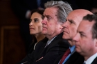 From left, White House senior counsellor Dina Powell, chief strategist Stephen Bannon, national security adviser H.R. McMaster and Chief of Staff Reince Priebus. Photo / Washington Post