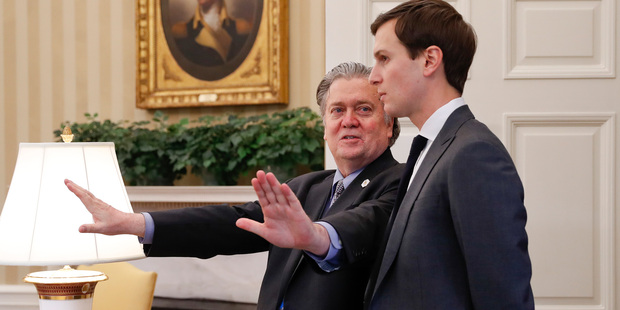 There has been lots of talk about the rift between Steve Bannon and Trump's son-in-law Jared Kushner. Photo / AP