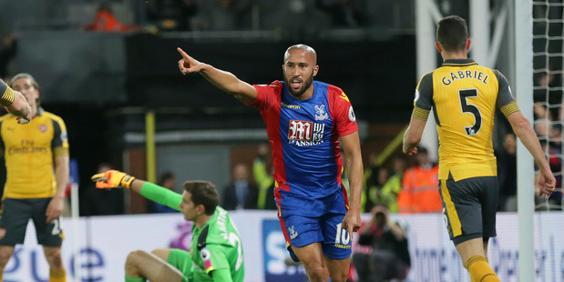 Crystal Palace's Andros Townsend celebrates scoring a goal during his side's 3-0 win over Arsenal at Selhurst Park in London this morning (NZT). Photo / AP.