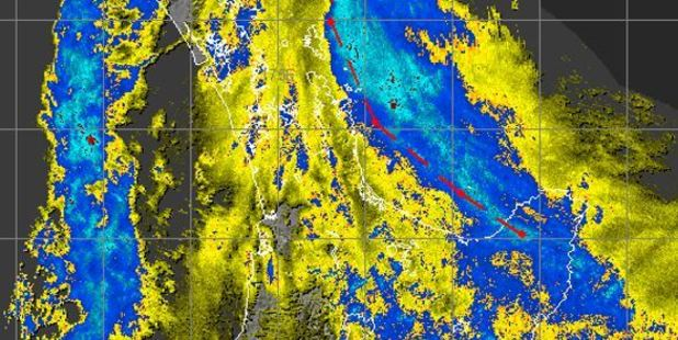 Loading Bands associated with Cyclone Cook were visible on MetService's rain radar at 11am today. Photo / MetService
