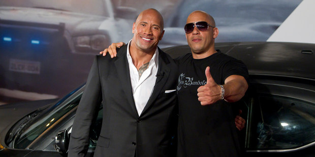"""Loading 'The Fate of the Furious' cast members said the feud between Dwayne """"The Rock"""" Johnson and Vin Diesel has been overblown. Photo / Getty"""