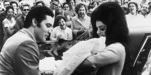 13th February 1968: Elvis and Priscilla Presley with their daughter, Lisa Marie. Photo / Getty