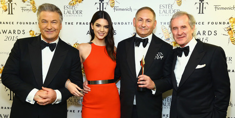 Alec Baldwin, Kendall Jenner, John Demsey and Fabrizio Freda attend the 2015 Fragrance Foundation Awards. Photo / Getty