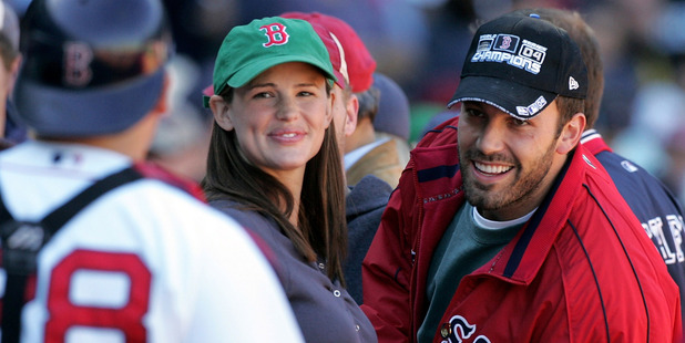 Actor Ben Affleck and wife, actress Jennifer Garner smile at a Boston Red Sox game. Photo / Getty