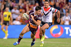 Ben Hunt of the Broncos crosses the try-line, but the try is disallowed against the Sydney Roosters. Photo/Getty Images