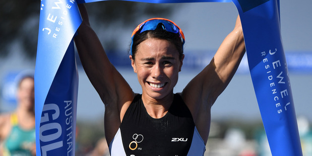 Andrea Hewitt during the ITU World Championship Series Triathlon on the Gold Coast. Photo / Getty Images