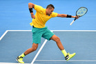Nick Kyrgios of Australia celebrates winning a point in his match against Sam Querrey of the USA during the Davis Cup World Group Quarterfinals. Photo/Getty Images
