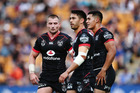 Kieran Foran, Shaun Johnson and Roger Tuivasa-Sheck against the Eels. Photo/Getty Images