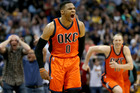 Russell Westbrook of the Oklahoma City Thunder celebrates after scoring a game-winning, three-point shot at the buzzer against the Denver Nuggets. Photo/Getty Images