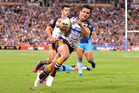 James Roberts of the Broncos celebrates scoring a try against Gold Coast Titans. Photo/Getty Images