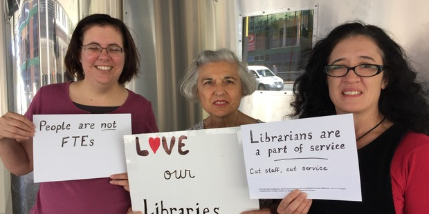 Members of the Love Our Libraries lobby group outside Auckland Council this morning. L-R Julia Schiller, Susan Schiller, Brenda Dwane. Photo / Cherie Howie