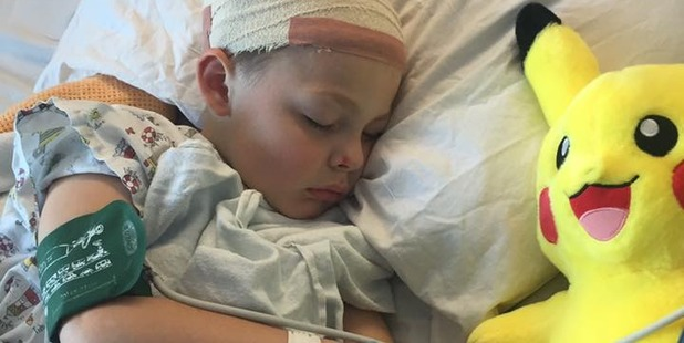 Jak Babyh, 7, needed surgery after a bully reportedly bashed his head into a pole. Photo/Facebook