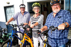 Rockgas Wanganui and e-bikes manager, Murray Corps (left), with business owners Robin and Peter Willcox getting ready for a cruise ride. PHOTO/ BEVAN CONLEY