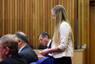Tamsin Trainor reading her victim impact statement to her attacker Neihana Rangitonga in the District Court at Tauranga yesterday. Photo/George Novak.