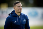 Blues player Sonny Bill Williams is the only player keeping his hooded training top on during team training at Alexander Park. Photo /  Dean Purcell.