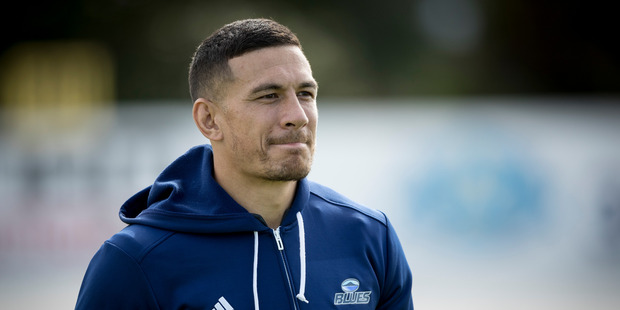 Odd man out - Sonny Bill Williams trained with a hoodie on in front of the media today at the Blues' Alexandra Park headquarters. Photo / Dean Purcell.