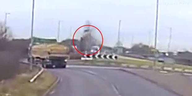 Loading Tania Chikwature drives her car over a roundabout and launches 4 metres into the air.