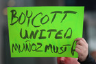 Demonstrators protest outside the United Airlines terminal at O'Hare International Airport in Chicago. Photo / Getty Images