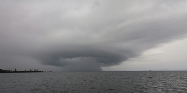 Ian Jenkins of Turangi snapped this storm forming on Lake Taupo when out fishing with his wife 13 April 2017 Photo / IAN JENKINS