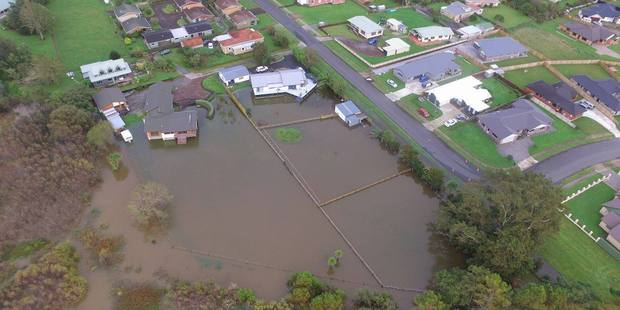 Loading Aerial view of Te Aroha flooding after Cyclone Cook. Photo / Nik Given