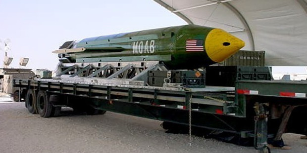 Loading This photo provided by Eglin Air Force Base shows the GBU-43/B Massive Ordnance Air Blast bomb. Photo / AP