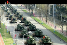 In this image made from video broadcast by North Korean broadcaster KRT, military vehicles prepare for a parade at Kim Il Sung Square in Pyongyang. Photo / AP