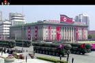 In this image made from video provided by North Korean broadcaster KRT, missiles are displayed during a parade at Kim Il Sung Square in Pyongyang. Photo / AP