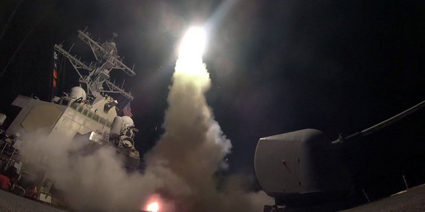 The U.S. Navy, the guided-missile destroyer USS Porter (DDG 78) launches a tomahawk land attack missile in the Mediterranean Sea as the United States blasted a Syrian air base. Photo / AP
