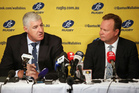 Australian Rugby Union Chairman Cameron Clyne, left, and CEO Bill Pulver discuss how Super Rugby tournament is reduced from 18 to 15 teams next season in Sydney. Photo / AP