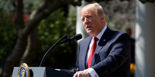 Loading President Donald Trump speaks in the Rose Garden of the White House in Washington. Photo / AP