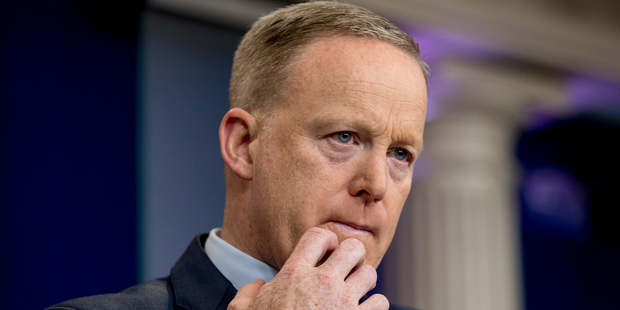 Loading White House press secretary Sean Spicer pauses while talking to the media during the daily press briefing at the White House in Washington. Photo / AP