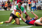Alexander Johnston of the South Sydney Rabbitohs scores a try against Sydney Roosters. Photo / Nick Reed