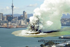 A previous artist's impression of a volcanic eruption in Auckland's Waitemata Harbour. A new scenario imagines an event at Mangere Bridge. Photo / File