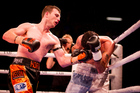 Jeff Horn in action against Alfredo Blanco in the Burger King Road to the Title Fight card at The Trusts Stadium. Photo/Dean Purcell