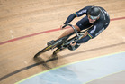 Eddie Dawkins from the Mens Sprint team training after the UCI World Cup squad was announced at the Avantidrome in Cambridge in 2015. Photo / Greg Bowker