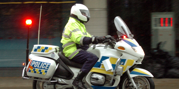 The police officer came off his bike on the Southern Motorway just after midday. Photo / File