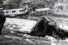 The wreckage of the ill-fated train at Tangiwai, which crashed into the Whangaehu River on Christmas Eve, 1953