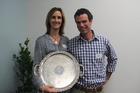 Managers of Tautane Station Claire and Matt Smith receive the Sheep and Beef Farm Business of the Year Award at a ceremony on Friday March 24 at Dannevirke Vet Services.