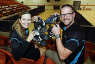 Sport Hawke's Bay's school development officer Sally McKenzie and commercial manager Ryan Hambleton with some of the first boots to arrive. Photo/Paul Taylor