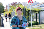Kelly Rowley is promoting the use of personal panic alarms after her 13-year-old daughter was grabbed near the pedestrian access at the end of Oxford St, Taradale. Photo/Duncan Brown