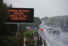 You have been warned: Road sign next to State Highway 1 at Otaika yesterday. Photo / Michael Cunningham
