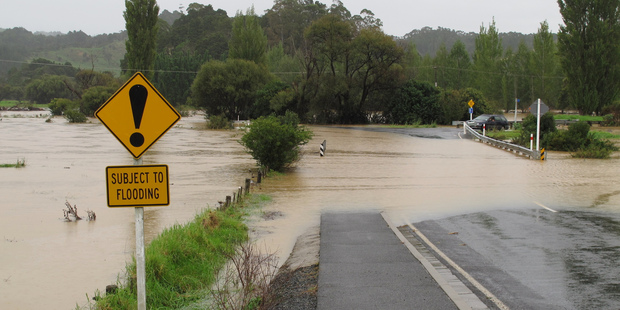 Loading Floodwaters made the start of Omaunu Rd, which leads to Kaeo Hospital, passable only to four-wheel-drives for a while. Photo/Northern Advocate