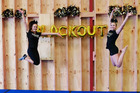Grace Hegh has opened her new permanent location for Blackout Cheer. The opening on Sunday involved routines involving Hegh and Demi Wharfe, right. Photo/Supplied
