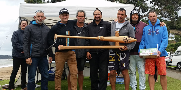 Parihaka Waka Ama Club's Team Toots, the inaugural winners of the revived Te Taiawhio o Ipipiri long-distance waka ama trophy. Photo / Anika West