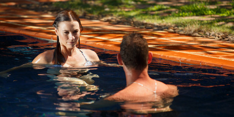 Zac Franich enjoys a dip with Sarah on The Bachelor NZ.