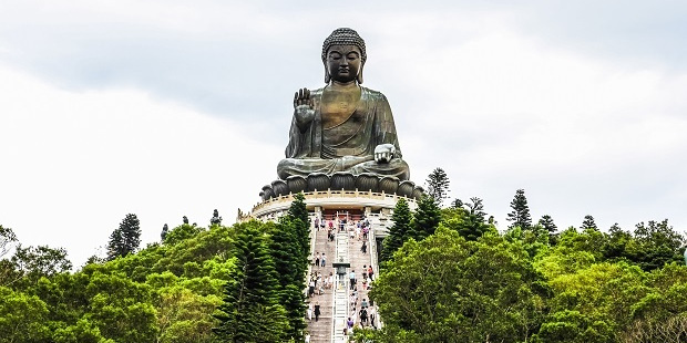 Take the 268 steps to reach the tip of the lotus flower where the Tian Tan Buddha sits. Photo / 123RF