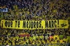 'Get well, Marc' read the sign held by Dortmund fans on Thursday after their Spanish centre back was wounded in a bomb blast the day before. Photo / AP