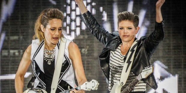 Loading ROCKING: Emily Burns Strayer and Natalie Maines of the Dixie Chicks give it their all at the Mission Concert at Mission Estate Winery in Napier last night. PHOTO/PAUL TAYLOR.